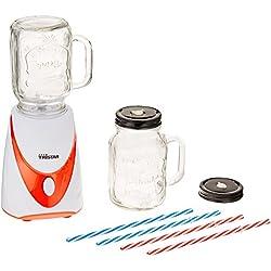 Tristar BL-4456 Mixer 'Mason Jar' mit 2 Glas-Kannen, 4 farbige Strohhalme