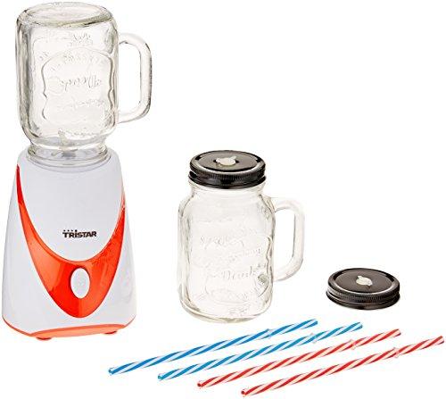 Tristar BL-4456 Frullatore Mason Jar, 2 Bicchieri in Vetro, 4 Cannucce