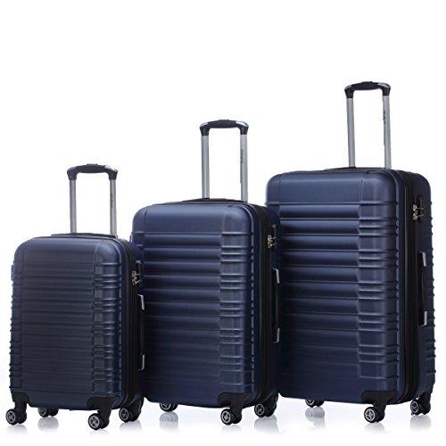 Zwillingsrollen 2088 Reisekoffer Koffer Trolleys Kofferset Reisekofferset Hartschale in 14 Farben (Dunkelblau)