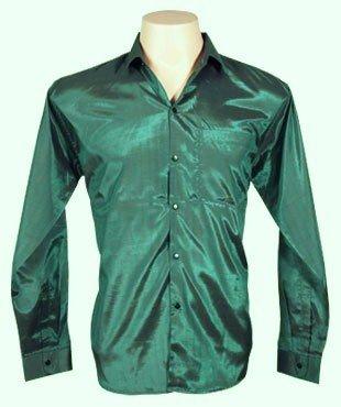 Da uomo, in seta tailandese camicia lunga/maniche, verde scuro, taglia XXL