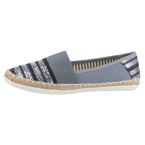 Pantofole Da Donna Metallico Espadrillas Bastonatura Profilo Sole Scarpe Estive Scarpe Denim Stampa Scarpe Fiori Glitter Scarpe Jennika Blu Blu