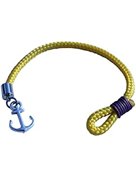 Armband Anker gelb mit blauer Wicklung maritim Segeltau by dünenkinder