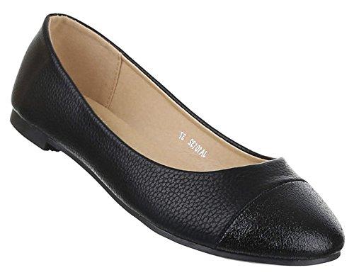 Damen-Schuhe Ballerinas | elegante Slipper mit Blockabsatz und Schleife in verschiedenen Farben und Größen | Schuhcity24 | Loafers Klassisch Schwarz