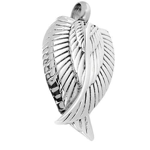 Memorial Urne Anhänger Halskette - Asche Urn Let - Aschebehälter Kettenanhänger - aus Edelstahl - Haustiere Andenken Schmuck - Silber Flügel -