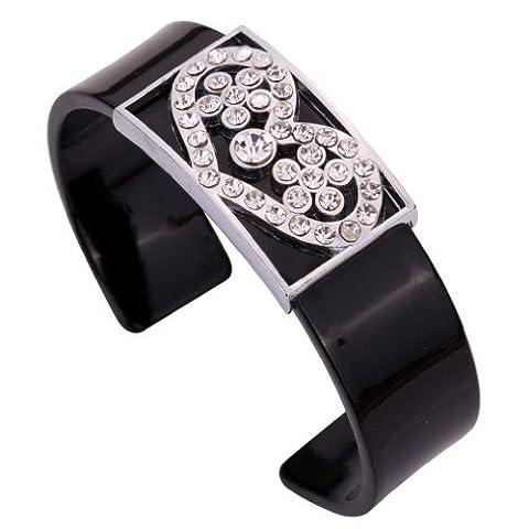 YAZILIND Jewelry Stainless Steel Black Acrylic Heart Flower Shape Crystal
