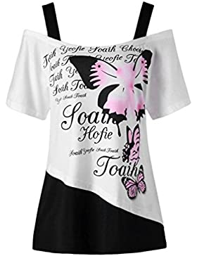 LuckyGirls Camisetas Mujer Originales Verano Manga Corta Halter Mariposas Estampado Sexy Remeras Blusas Camisas