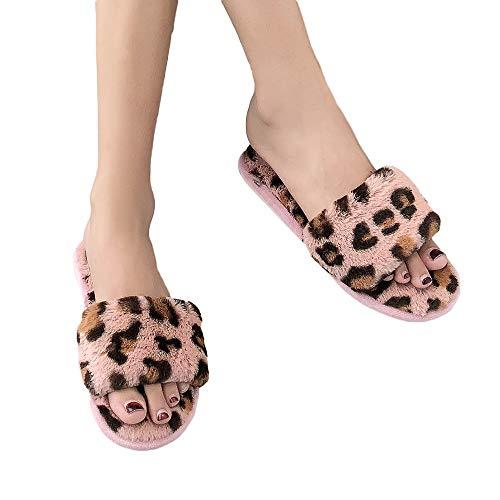 Deloito Mode Damen Gemütlich Warmes Plüsch Flacher Boden Schuhe Zuhause Öffnen Leopard Hausschuhe (Rosa,36.5 EU)