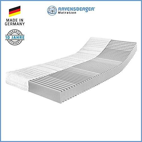 RAVENSBERGER SOFTWELLE | 7-Zonen-HR-Kaltschaumkomfortmatratze| RG 40 Härtegrad 1 (bis 45Kg) | Made IN Germany - 10 Jahre GARANTIE | Baumwoll-Doppeltuch-Bezug | TÜV | 90 x 200 cm