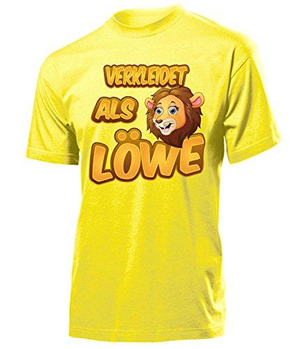 Löwe 5267 Karneval Fasching Tier Kostüm Löwen Tier Herren T-Shirt Paar Gruppen Outfit Klamotten Oberteil Faschings Karnevals Motto Party Gelb S (Safari Löwen Kostüme)