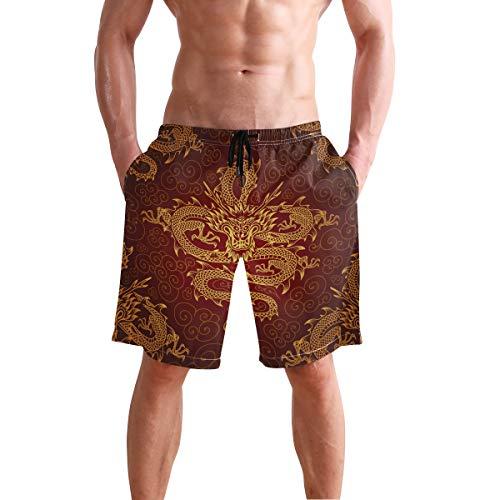 BONIPE - Bañador para Hombre, diseño de dragón Chino, Secado rápido, con cordón y Bolsillos XXL