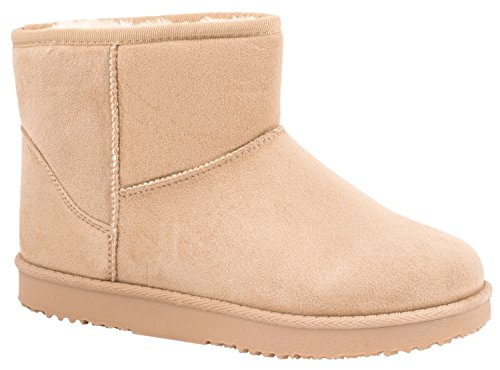 Elara Damen Boots | Bequeme Winter Stiefeletten | Warm Gefüttert Profilsohle Wildlederoptik Beige
