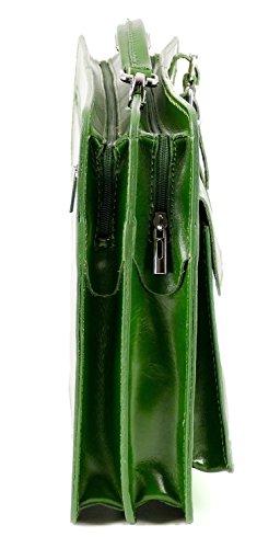College Tasche Aktenkoffer Schule Tasche Lehrer Tasche Messenger Leder Tasche Vintage Rot, Farbe:Grün Grün