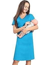 AV2 Women Solid Feeding/Maternity/Nursing Nightdress, Short Nighty With Lace