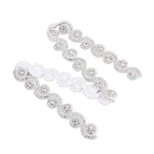 ULTNICE Apliques de diamantes de imitación de la correa del marco nupcial de la boda decorar con pedrería brillante brillante