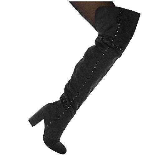 Angkorly Chaussures Mode Bottes Haute Cavalier Flexible Biker Femme Clouté Haut Bloc Talon 8 Cm Fourrure Gris Légèrement Doublé