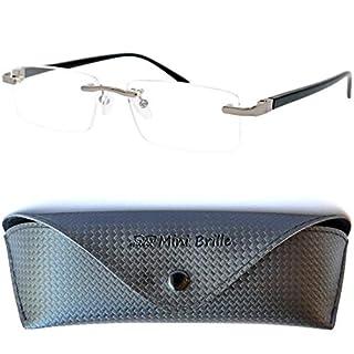 Metall Lesebrille randlos mit rechteckigen Gläsern - mit GRATIS Etui und Brillenputztuch, Edelstahl Rahmen (Schwarz) mit Federscharnier, Lesehilfe für Damen und Herren,+1.5 Dioptrien