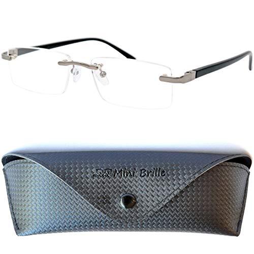 Metall Lesebrille randlos mit rechteckigen Gläsern - mit GRATIS Etui und Brillenputztuch | Edelstahl Rahmen (Schwarz) mit Federscharnier | Lesehilfe für Damen und Herren |+2.0 Dioptrien