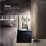ELINKUME LED Lampadaire Noir Twist Wave Dimmable Lampe d'intérieur Moderne Unique Design Éclairage Blanc Chaud 30W Adapté pour Salon/Chambre à Coucher...