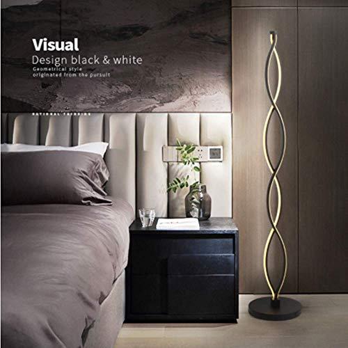 ELINKUME Stehleuchte Schwarz Dimmbar LED Innenbeleuchtung Modern Einzigartiges Design Twist Welle 30W Warmweiß Dimmbar Wechseln Perfekte Dekoration für Ihr Zuhause -