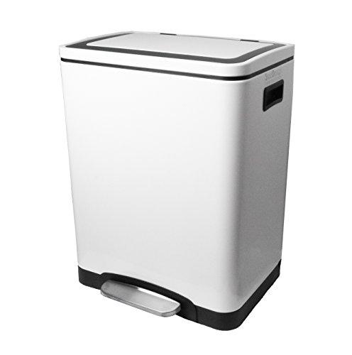 Steeldesign Nino Mülleimer mit 30 Liter (2 * 15 ltr) | 2 Fache Mülltrennung | Mülltrennungssystem | Design Treteimer | Hochwertige Chromstahl Abfalleimer | Weiß | Geruchsdicht