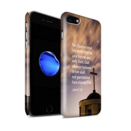 Stuff4® Glanz Snap-on Hülle/Case für Apple iPhone 7 / God Loved World/John Muster/Christliche Bibel Vers Kollektion
