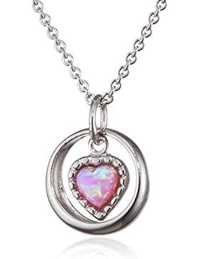 XAANA Kinder-Kette mit Anhänger 925 Silber rhodiniert Opal rosa Herzschliff 38 cm - AMZ0388