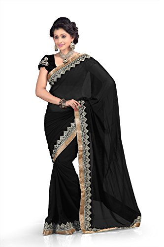 Chirag Sarees Chiffon Lace Saree (Black) -298-BLACK