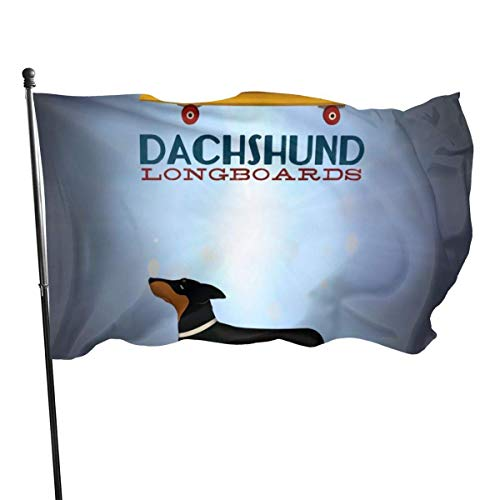 Oaqueen Flagge/Fahne, Weather Resistant A Dog On A Skateboard Garden Flag, Family Party Flag - 3 X 5 Ft