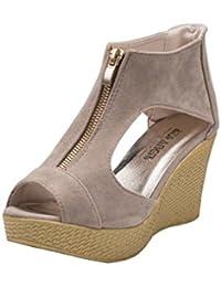 Sandales GongzhuMM ❉Sandales Compensées Femme Sandales Talon Compensé  Chaussures Tongs d été Casual Peep 7a4da6296481