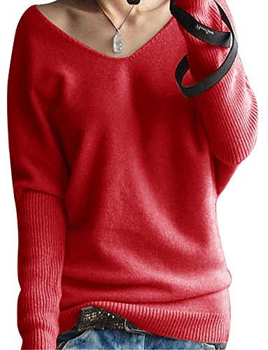 Yidarton Damen Mode Kaschmir Pullover übergroße Lose Langen Ärmeln V-Ausschnitt Fledermausflügel Herbst und Winter Warm Strickpullover (Rot, M)