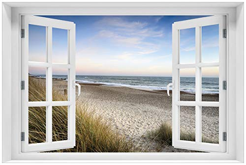 (Wallario selbstklebendes Poster - Strandspaziergang im Urlaub an der Ostsee in Premiumqualität, Größe: 61 x 91,5 cm (Maxiposter))