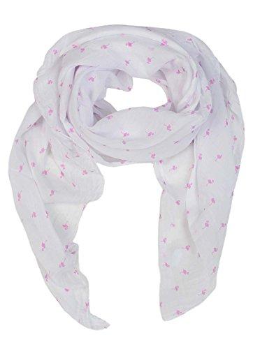 Zwillingsherz Seiden-Tuch Damen Flamingo Muster - Made in Italy - Eleganter Sommer-Schal für Frauen - Hochwertiges Seidentuch/Seidenschal - Halstuch und Chiffon-Stola stilvolles Muster pink