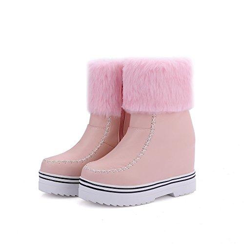 Agoolar Giù Tacco Rosa Flessibile Zip Materiale Donna Stivali Alto PZnqqTO6