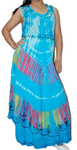 Dancers World Ltd (UK Seller) Damen-Sommer-Sommer-Regenschirm-Schnitt gestickter Cocktail-Abend Boho Oberseite Beachwear Behälter-Kleid-freie Größe - Indian Belly Dancer Kostüm