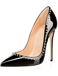 ELASHE- Scarpe da Donna - 12CM Scarpe col Tacco con Rivetto - Classiche Scarpe  col 3f246b19937
