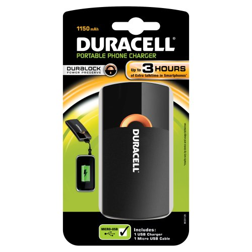 Duracell Portable Phone Charger (3 Stunden) Mobiles Ladegerät für 1.150 mAh (PPS2) -