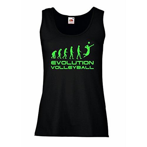 lepni.me Serbatoio,Maglietta Senza Maniche Femminile Evolution Volley - Abbigliamento da Spiaggia, Indoor, Outdoor Vball Nero Verde