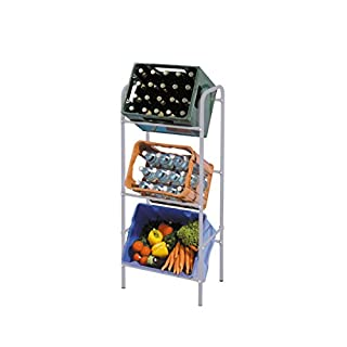 axentia Getränkekistenregal für 3 Kästen, Regal aus Metall, Boxen-Regal zur platzsparenden Kastenhalterung, Kistenregal flexibel erweiterbar, grau