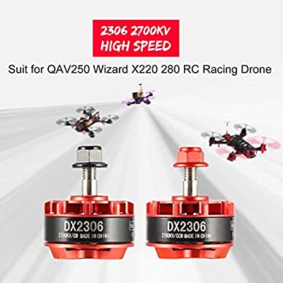 Fantasyworld ?2 Packs? D2306 2306 2700KV 2-4S CW/CCW Brushless Motor for QAV250 Eachine Wizard X220 280 RC Drone Airplane Helicopter Multicopter
