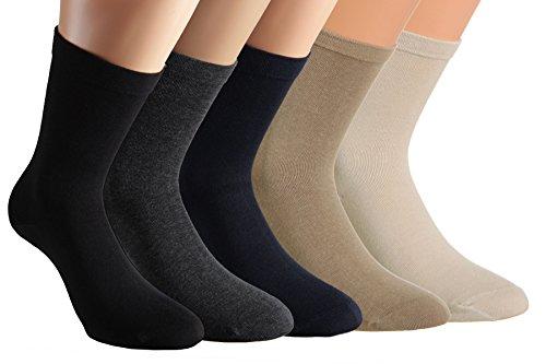 Vitasox 11124 Damen Socken Extra weit Baumwolle Gesundheitssocken Sensibel Ganz ohne Gummi ohne Naht 4er Pack Schwarz 35/38