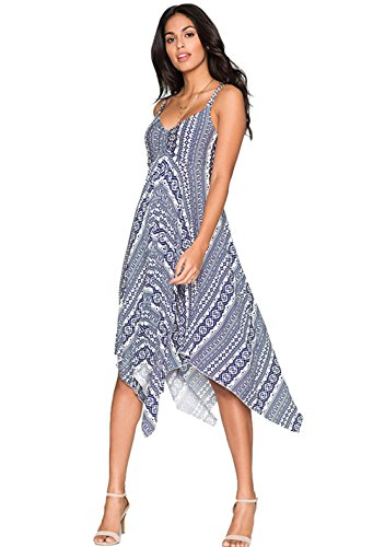 Le donne casuale estivo a righe Stampa scollo Backless slittamento Dress