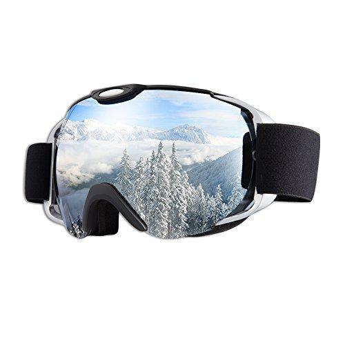 Skibrille–Jet Vintage weiß Snowboard für Herren Damen Mädchen Jungen Kids Youth Ski Snowboard Brille, 1Paket von giohos–100% UV-Schutz verschiedenen Farben (Anti-Fog) (Giro Ski-jugend Helm)
