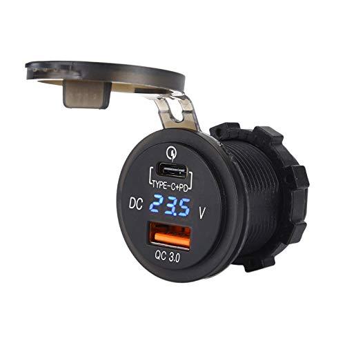 SODIAL Qc 3.0 Motorrad Marine Doppel USB Lade Buchse Typ C Anschluss Schnelles Ladeger?t Mit Vollem Durchfluss Blau