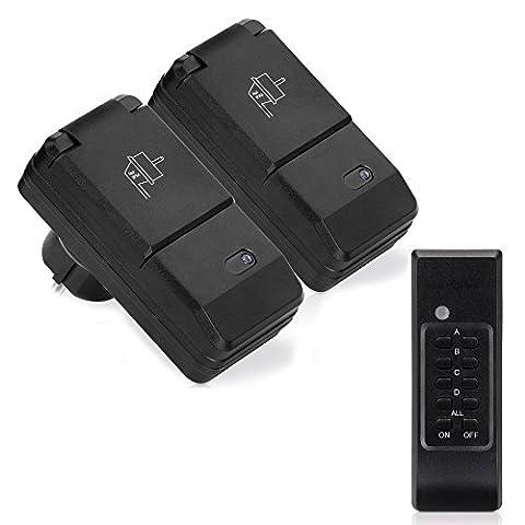 Manax® Outdoor Lot de prises télécommandées (2+ 1) pour l'extérieur sans fil (Outdoor) | 2x Interrupteur Kit de prises Protection Parental | 1x télécommande | | haute portée de 30m–Norme IP44pour l'extérieur–Noir