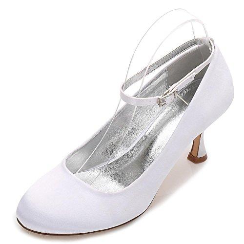 L@YC Chaussures de Mariage Pour Femmes E17061-12 Satin Round Toe Plat Près des Orteils Buckle Summer Work Court Chaussures Élégant white