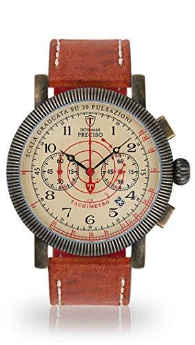 DETOMASO PRECISO Herren-Armbanduhr Chronograph Analog Quarz champagnerfarbenes Zifferblatt - jetzt mit 5 Jahre Herstellergarantie (Leder - Braun)