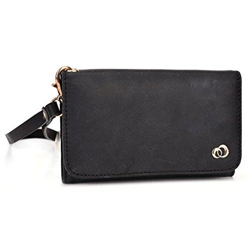 Kroo Pochette en cuir véritable pour téléphone portable pour Alcatel One Touch 997D Double SIM/Pop C3/Pop C2/Pop S3 Marron - peau noir - noir