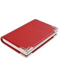 Tarjetero / Estuche para tarjetas de visita, hecho de acero inoxidable de alta calidad y cuero, para 19-21 tarjetas, color: rojo, Mod. 4114-02 (DE)