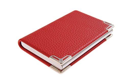 Visitenkartenetui/-halter aus hochwertigem Edelstahl und Bycast Leder, für 19-21 Visitenkarten, Farbe: rot, Mod. 4114-02 (DE) (Rotes Leder Bycast)