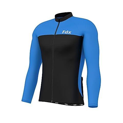 FDX Jersey à manches longues de cyclisme pour homme hiver thermique cyclisme Cold Wear Veste pour homme moyen multicolore - Noir/Bleu